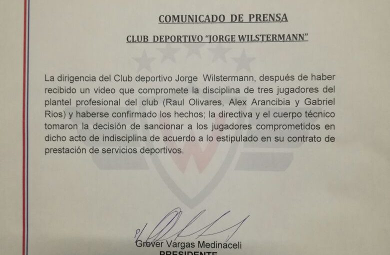 Wilstermann multa a tres jugadores por indisciplina