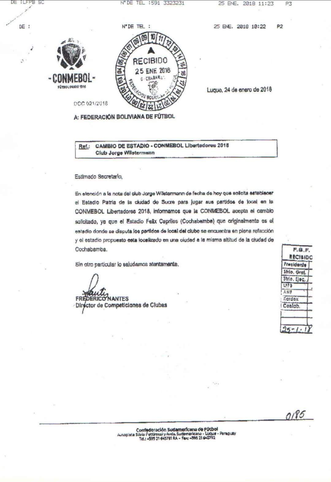En una carta que se hizo pública hoy, el director de Competiciones de Clubes de la #Conmebol, Federico Nantes, informó a la FBF sobre la aceptación del cambio de escenario deportivo solicitado por el equipo ´aviador´