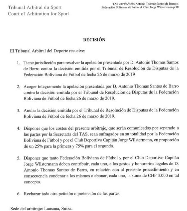 ¡Histórico! El TAS le da la razón a Thomaz Santos; Wilster y la FBF deben pagar al jugador