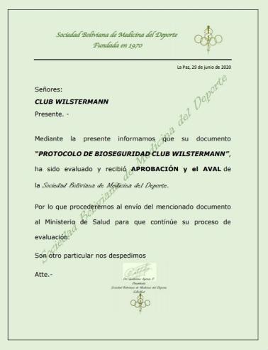 El protocolo de Wilstermann fue aprobado por la Sociedad Boliviana de Medicina