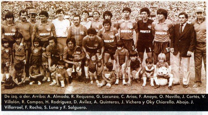1985, en el partido con Bolívar, cuando conquistó el título de la primera fase. Entre otros, destacan Luna, Almada y Quinteros, figuras clave de la conquista. Cortesía Jose Fernandez Paz