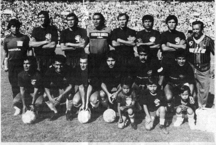 1992 - primera fase. PARADOS: Martínez, Cossio, Galarza, Aguirre, Campos y Salguero. ABAJO: Cortez, Taborga, Diaz, Romero y García. Cortesía Jose Fernandez Paz