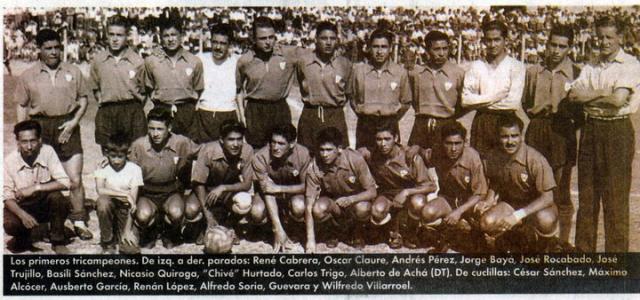 El equipo del tricampeonato, unico en la historia del país. Cortesía Jose Fernandez Paz