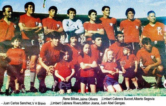 1972 - Parados: Herbas Franco, Bilbao, Valdivia, Cabrera B. Segovia. Agachados: Sanchez, Bravo, Cabrera R. Miton y Alberto Baptista
