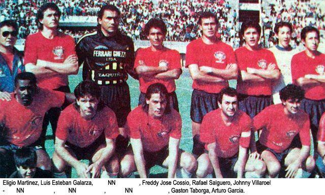 1992 - Martinez, Galarza, Vera, Cossio, Salguero, Villarroel, Josimar, Díaz, Lezcano, Taborga, y mi persona. Falta Chichi Romero, seguramente lesionado. Cortesia: Andyy War